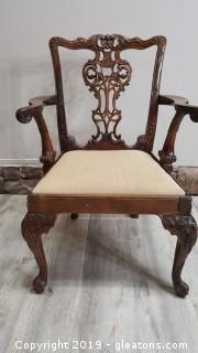 Beautiful Vintage Ornate Hand Carved Covered  Bottom Accent/Arm Chair