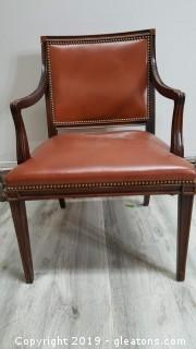 Beautiful Mahogany Leather Accent Chair