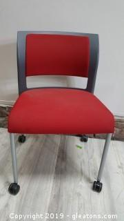 Small Retro Rolling Red/Gray Office/Computer Chair