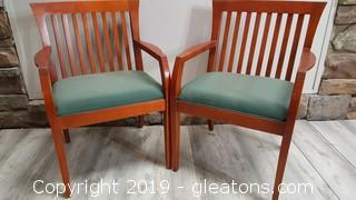 Pr of Wide Seat Wooden Arm Chairs/Office Chairs