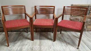 Set of (3) Nice Retro Style Wooden Covered Bottom Office Chairs