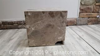 Very Heavy Marble Square Cube Block Side Table