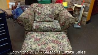 WIDE ARM CHAIR WITH OTTOMAN