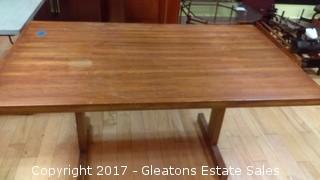 HUGE WOOD SQUARE TABLE