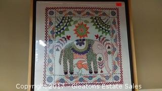 HAND STITCHED CLOTH ELEPHANT PICTURE