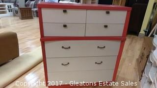 RED AND WHITE DRESSER VINTAGE