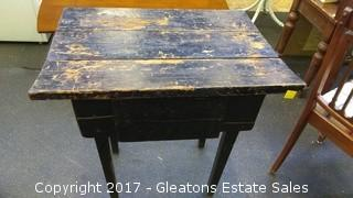 VINTAGE TABLE WITH WITH HIDEAWAY MONEY POUCH