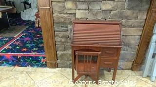 ANTIQUE CHILDS ROLLER DESK WITH CHAIR