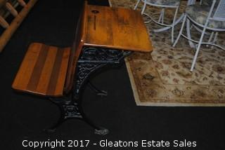 ANTIQUE WOOD AND CAST IRON SCHOOL DESK, 1 of 2