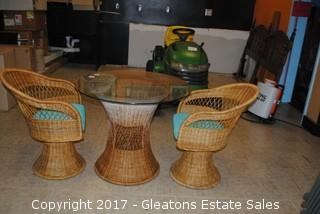 STRAW WICKER TABLE WITH GLASS TOP/TWO CHAIRS