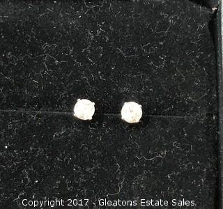 Vintage 14K Yellow Gold .70 Carat CT TW Natural DIAMOND STUD EARRINGS Estate