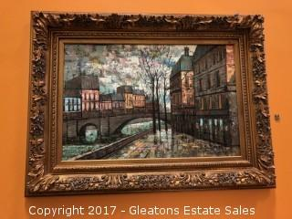 Oil on canvas, Homes Alongside a Canal APPRAISED