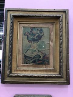 Print, Antique, Hand Carved Frame