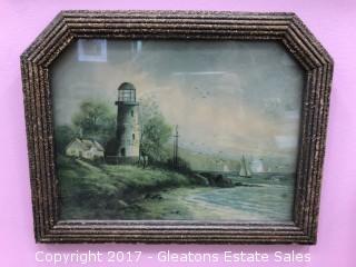 Print, Antique Lighthouse on Seashore
