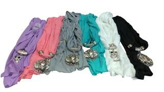 BOX OF ASSORTED SCARFS WITH JEWERLY DISIGN