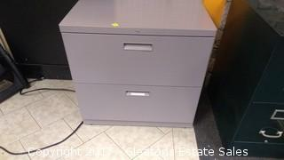 TWO WIDE DRAWER METAL FILE CABINET