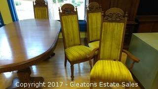 SIX ANTIQUE VELET DINNING CHAIRS