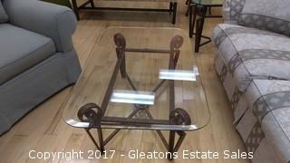 GLASS AND IRON GLASS TABLE