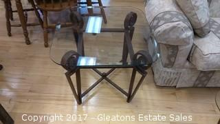 GLASS AND IRON END TABLE