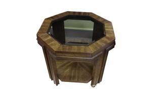 VINTAGE WOOD ROUND END TABLE WITH GLASS TOP (2)