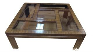 HUGE SQUARE WOOD COFFEE TABLE WITH GLASS ON TOP
