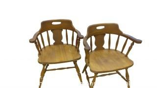 SIX OAK ARMS CHAIRS