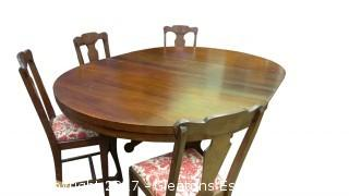 ANTIQUE WOOD PESTAL TABLE WITH WHEELS
