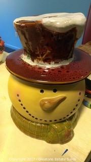 SNOWMAN HEAD COOKIE JAR