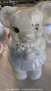 TEDDY BEAR FACE ONE SIDE AND PIG ON OTHER SIDE COOKIE JAR