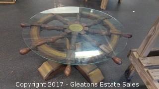 CAPTIAN WHEEL GLASS TABLE