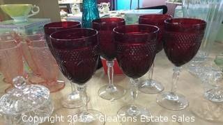 SIX CRISTAL D'ARGUES DURAND ANTIQUE RED WINE GLASSES